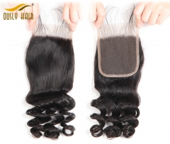 【3 PCS FREE SHIPPING】Mallaysian Human Hair Weave Loose Wave 4*4 Free Part Lace Closure With Baby Hair 100% Virgin Human Hair Lace Closure Ously Hair