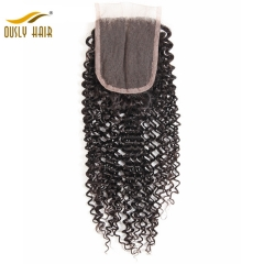 【3 PCS FREE SHIPPING】Ously Hair Brazilian Virgin Hair Weave Afro Kinky Curly 4*4 Free Part Lace Closure Pre Plucked With Baby Hair Lace Closure