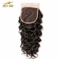 【3 PCS FREE SHIPPING】Ously Hair Brazilian Human Hair Weave Flossy Water Wave 4*4 Lace Closure Remy Human Hair Swiss Lace With Baby Hair
