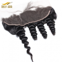 Ously Hair Peruvian Virgin Human Hair Weave Charming Loose Wave 13*4 Lace Frontal Closure Pre Plucked With Baby Hair Bleached Knots Lace Closure