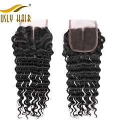 【3 PCS FREE SHIPPING】Ously Hair Brazilian Virgin Human Hair Weave Deep Wave 4*4 Lace Closure With Baby Hair Bleached Knots