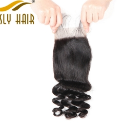 【3 PCS FREE SHIPPING】Ously Hair Peruvian Virgin Hair Weave Loose Wave 4*4 Free Part Lace Closure Pre Plucked With Baby Hair Bleached Knots