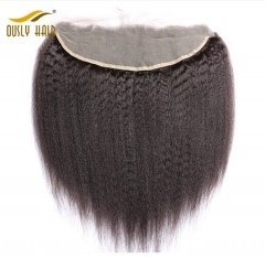 Ously Hair Brazilian Virgin Human Hair  Kinky Straight 13*4 Lace Frontal Closure With Baby Hair Pre Plucked Swiss Lace Bleached Knots Lace Closure