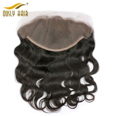 Ously Hair Brazilian Virgin Human Hair Body Wave 13*6 Free Part Lace Frontal Closure With Baby Hair Bleached Knots Lace Frontal Closure
