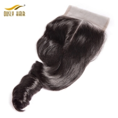【3 PCS FREE SHIPPING】Ously Hair Peruvian Virgin Human Hair Weave Charming Loose Wave 4*4 Lace Closure Pre Plucked With Baby Hair Bleached Knots