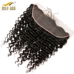 Ously Hair Peruvian Virgin Human Hair weave Deep Wave 13*4 Lace Frontal Closure With Baby Hair Forc Black Women Bleached Knots Lace Frontal Closure