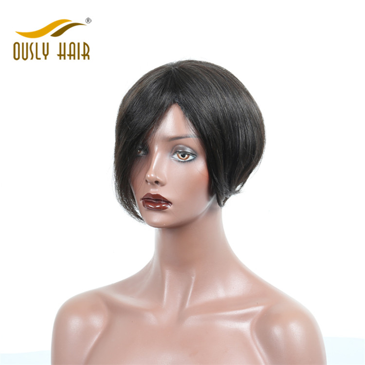 Ously Hair Brazilian Virgin Human Hair Wigs Straight Short Bob Full Lace Wigs For Black Women With Baby Hair Bleached Knots 8-16 Inch Wigs