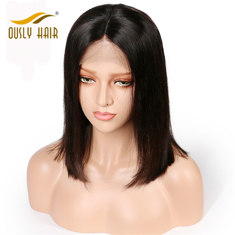 Ously Hair Brazilian Virgin Human Hair Straight Short Bob 360 Lace Frontal Wigs Density 130% With Baby Hair 10-18Inch Swiss Lace Bleached Knots
