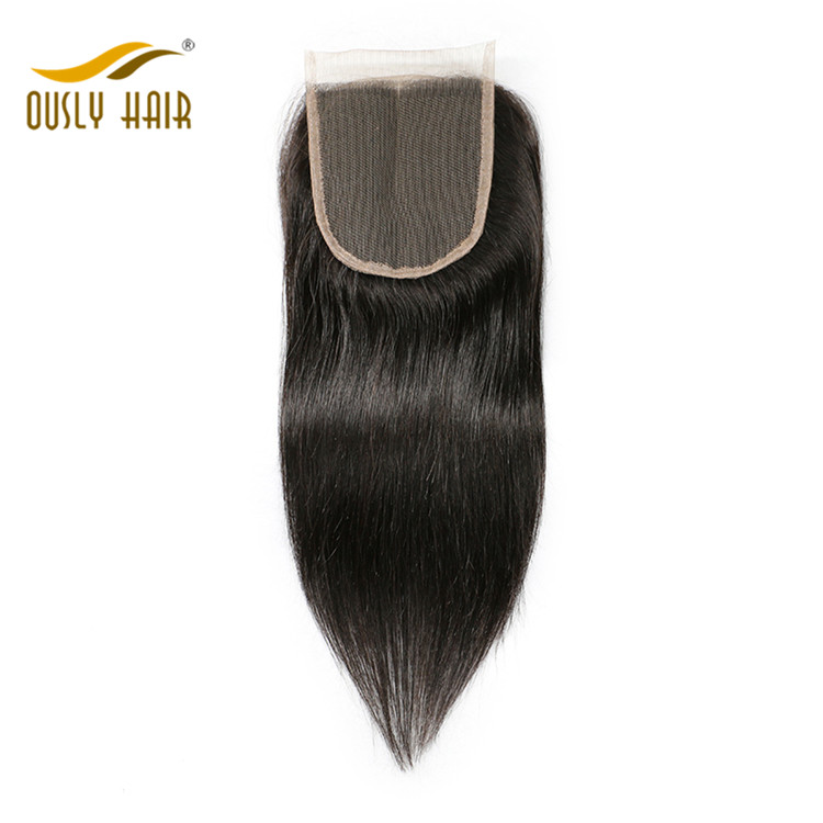 【3 PCS FREE SHIPPING】Ously Hair Brazilian Virgin Human Hair Straight 4X4 Lace Closure Natural Color Bleached Knots With Baby Hair