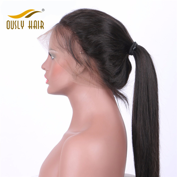 Ously Hair Brazilian Remy Human Hair Straight 360 Lace Frontal Wigs Density 130% With Baby Hair Swiss Lace Bleached Knots