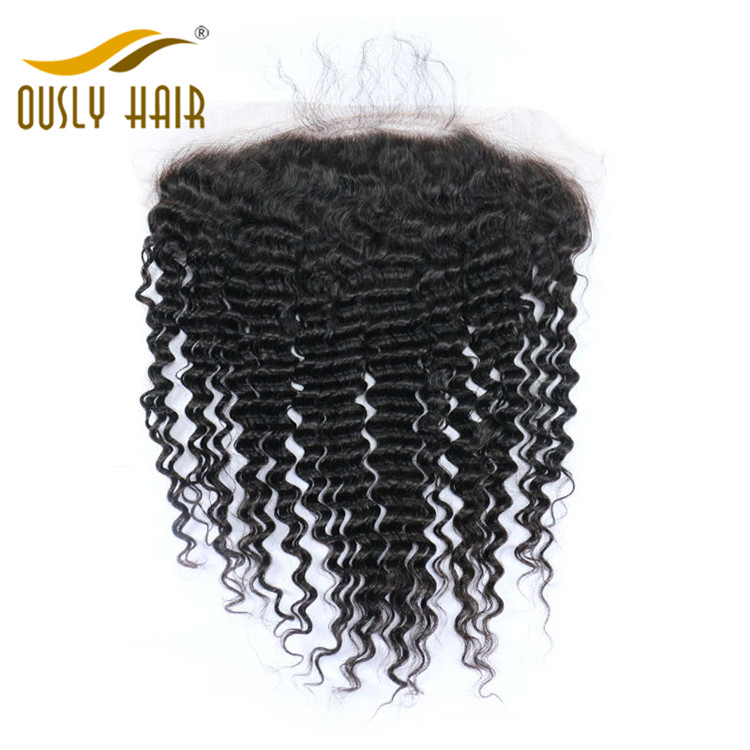 Ously Hair Peruvian Virgin Human Hair weave Deep Wave 13*6 Lace Frontal Closure Pre Plucked With Baby Hair Bleached Knots Lace Frontal Closure