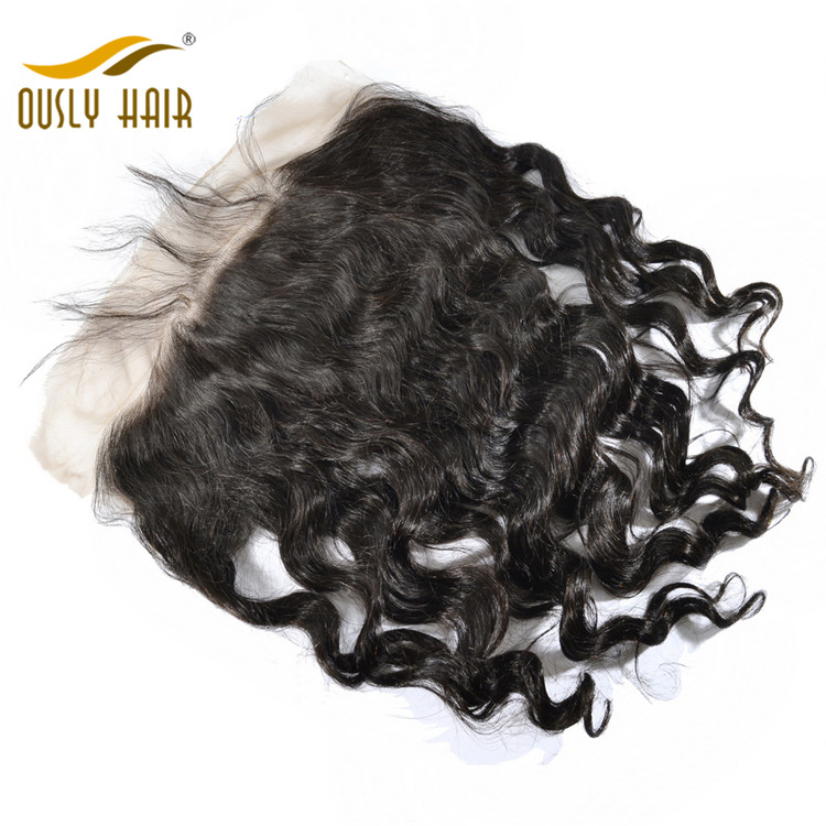 Ously Hair Peruvian Virgin Human Hair Weave Flossey Loose Wave 13*6 Lace Frontal Closure Pre Plucked With Baby Hair Bleached Knots Lace Closure
