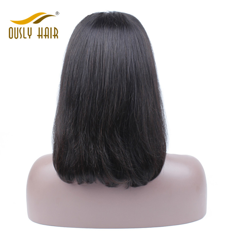 Ously Hair Brazilian Human Hair wigs Straight Short Bob Lace Front Wig With Baby Hair Bleached Knots For Black Women 10-18 Inch