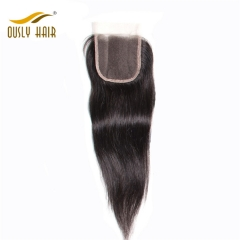 【3 PCS FREE SHIPPING】Ously Hair Brazilian Virgin Human Hair Straight 4X4 Free Part Lace Closure 8-24 inch Bleached konts