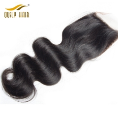 【3 PCS FREE SHIPPING】Malaysian Virgin Human Hair Body Wave Free Part 4X4 Lace Closure Natural Color Bleached Knots No Shedding Ously Hair