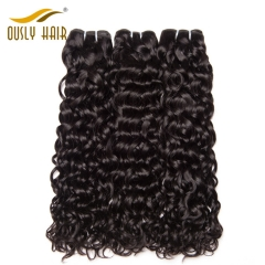 Ously Hair Indian Human Hair Weave Flossey Water Wave Hair Bundles 100 Remy Human Hair Extension Natural Color Can Be Dyed
