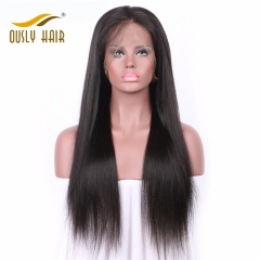 Peruvian Virgin Human Hair Wigs Straight  Lace Front Wigs With Baby Hair Bleached Knots Pre Plucked Human Hair Wig Ously Hair