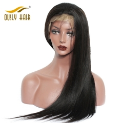 BOusly Hair Brazilian Virgin Human Hair Wigs Straight Full Lace Wigs For Black Women Bleached Knots 10-24 Inch Wigs