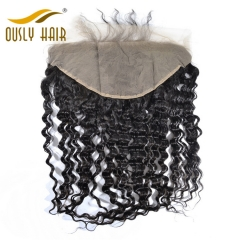 Ously Hair Brazilian Virgin Human Hair weave Deep Wave 13*6 Lace Frontal Closure With Baby Hair Bleached Knots Lace Frontal Closure