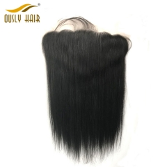 【2 PCS FREE SHIPPING】Ously Hair Brazilian Virgin Human Hair Straight 13X6 Lace Frontal Closure with Baby Hair Natural Color No Shedding